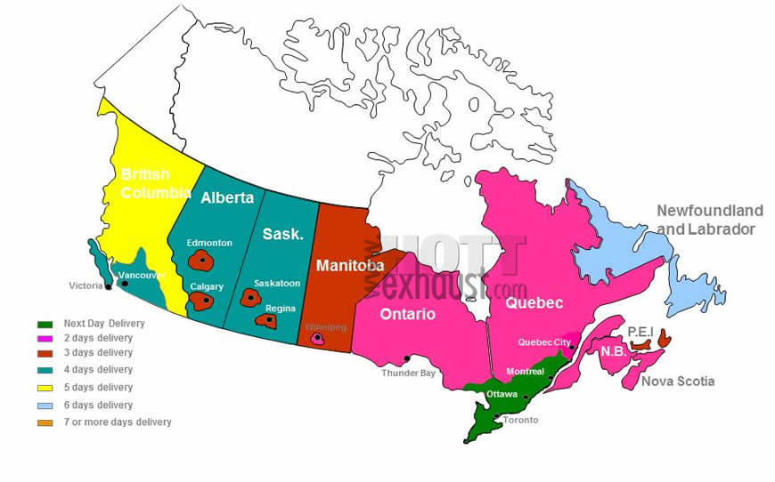 Magnaflow Canada ship time map gives you an indication of how long it will take for your package to arrive. British Columbia, Alberta, Saskatchewan, Manitobam Ontario, Quebec, Nova Scotia, New Brunswick, Newfoundland, PEI, Yukon, NWT, and Nunavut are all shown.